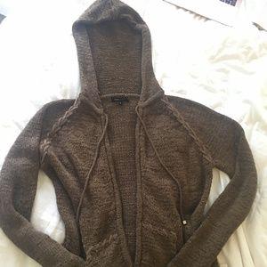 Dark Brown BCBG Knitted Hooded zip up sweater